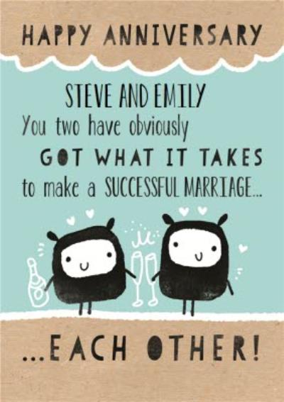 You Two Have What It Takes Cute Personalised Happy Anniversary Card