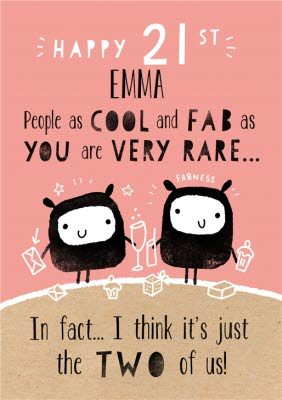People As Cool And Fab You Are Very Rare Happy 21st Birthday Card