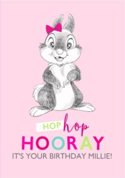 Disney Sketch Thumper Hop Hop Hooray Birthday Card