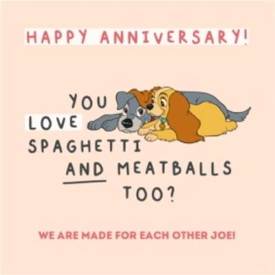 Disney Lady And The Tramp Spaghetti And Meatballs Anniversary Card