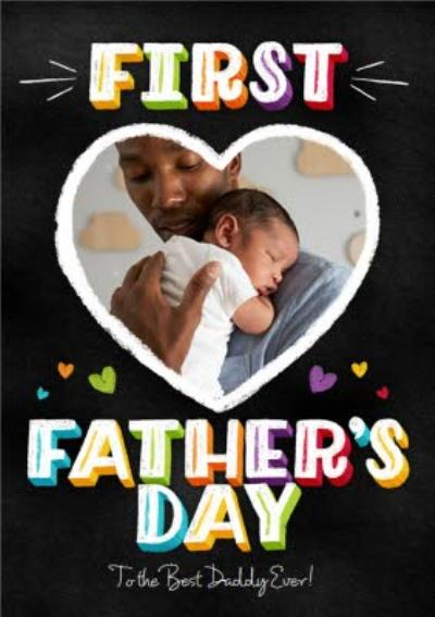 First Father's Day Heart Personalised Photo Card