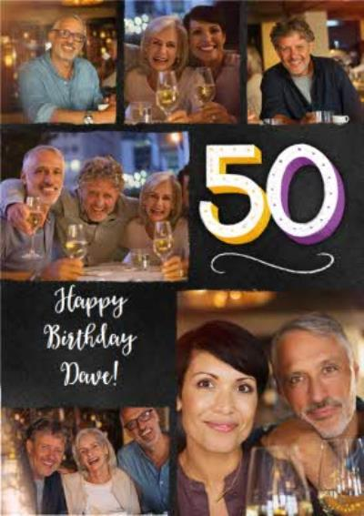 Multi Photo Upload 50th Birthday Card