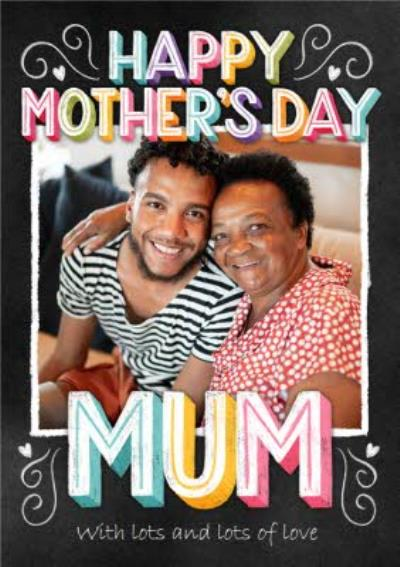 Happy Mothers Day Mum Photo Upload Typographic Mothers Day Card