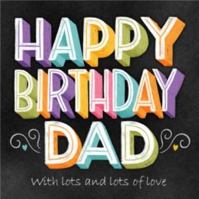 Happy Birthday Dad Chalkboard Chalk Lettering Typographic Birthday Card