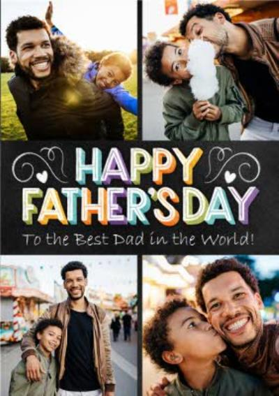 Typographic Chalkboard Best Dad In The World Photo Upload Father's Day Card