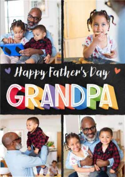 Typographic Grandpa Father's Day 4 Photo Upload Card