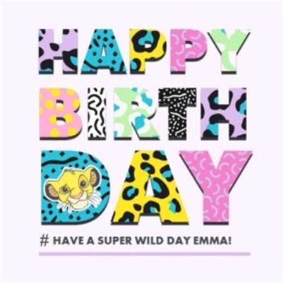 Disney Lion King patterned Happy Birthday card
