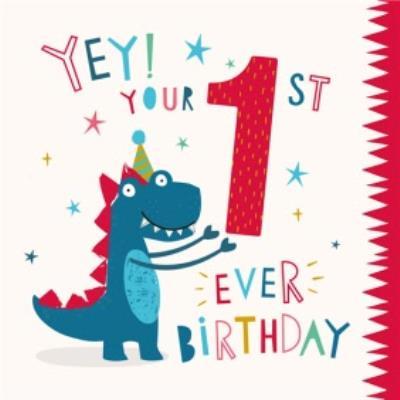 Cute Dinosaur 1st Ever Birthday Card