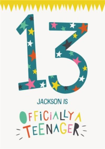 Fun Typographic Customisable 13th Birthday Card