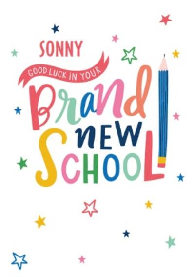 Modern Fun Pencil And Stars Illustration Personalise Name Brand New School Card