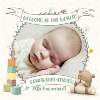 Cute new baby photo upload card