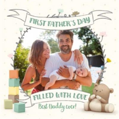 Building Blocks Happy First Father's Day Filled With Love Photo Card