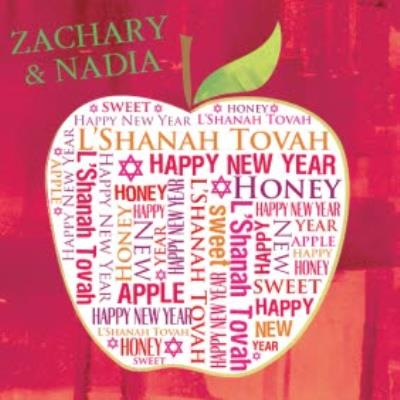 Apple With Words Personalised Happy New Year Card