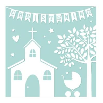 Christening Church Tree Paper Cut Out Card