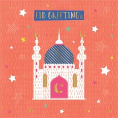 Orange Temple Eid Greetings Card