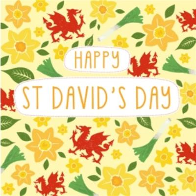 Happy St Davids Day Floral Card