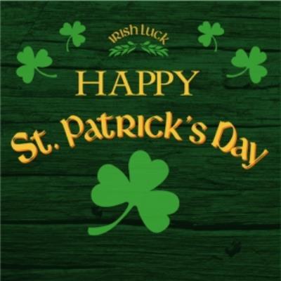 Irish Luck Happy St Patricks Day Clover Card