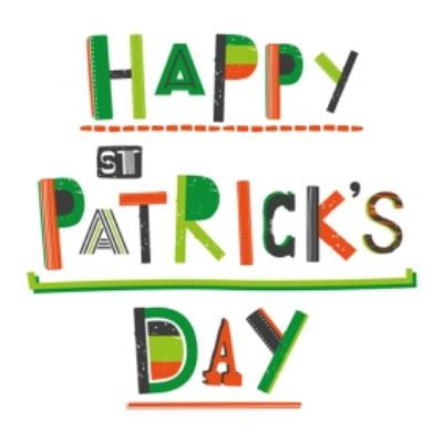Typographic Happy St Patricks Day Clover Card
