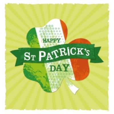 Happy St Patricks Day Irish Flag Clover Card