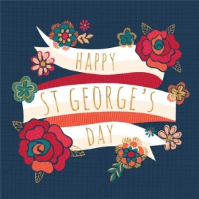 Happy St Georges Day Rose And Banner Card