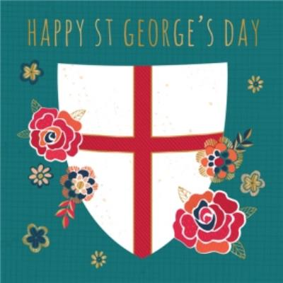 Happy St Georges Day Rose And Shield Card