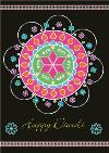 Black And Colourful Rangoli Pattern Personalised Happy Diwali Card