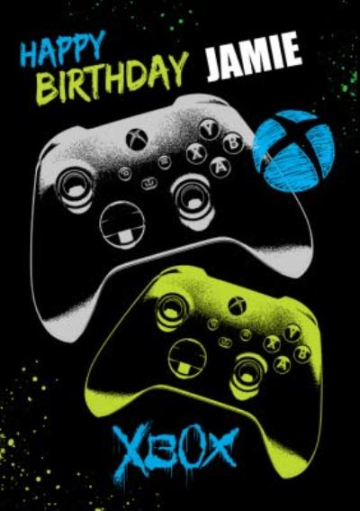 Graphic Xbox Controllers Happy Birthday Card