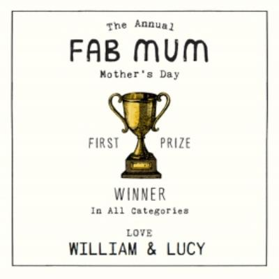 Fab Mum From The Kids Personalised Mother's Day Card