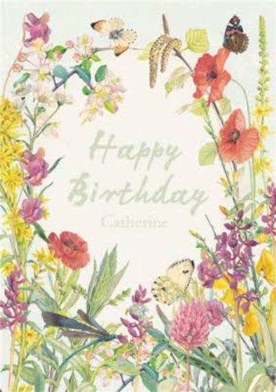 Summer Flowers Personalised Happy Birthday Card