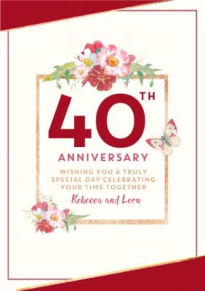 Traditional 40th Anniversary card, Wishing you a truly Special Day