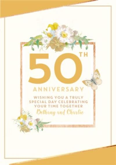 Traditional 50th Anniversary card, Wishing you a truly Special Day