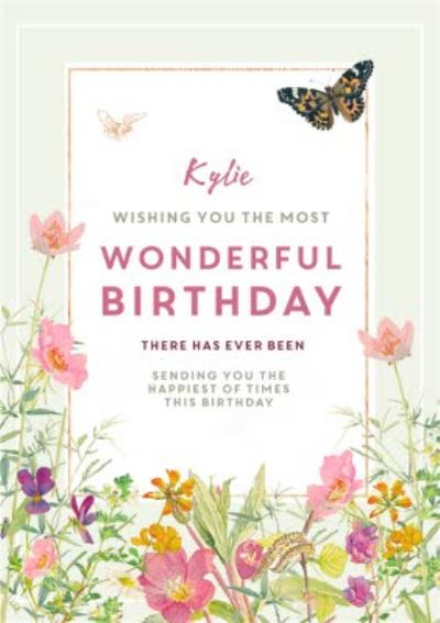 Edwardian Lady Floral Most Wonderful Birthday Card
