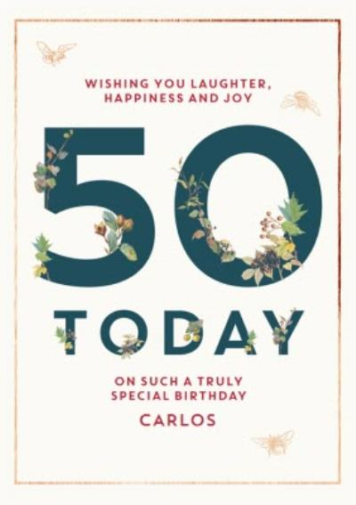 Edwardian Lady Floral 50 Today Special Birthday Card