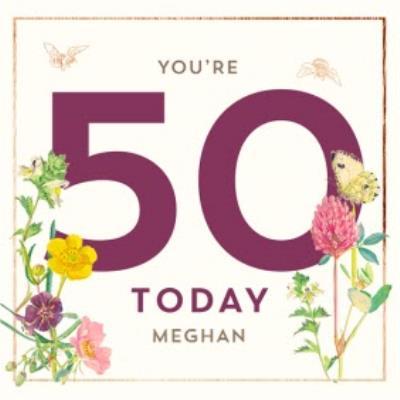 Edwardian Lady Floral 50th Birthday Card