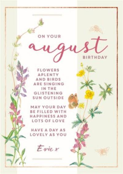 Edwardian Lady Floral August Birthday Card