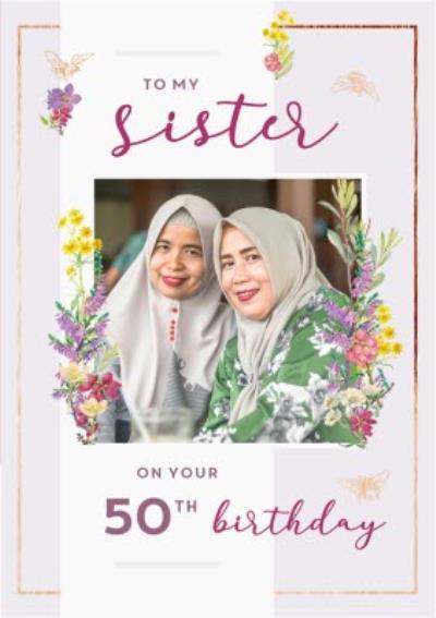 Edwardian Lady Sister 50th Birthday Photo Upload Card