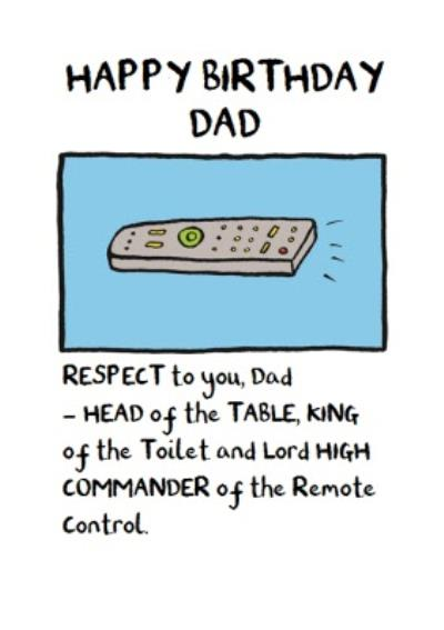 Lord High Commander Of The Remote Control Birthday Card For Dad