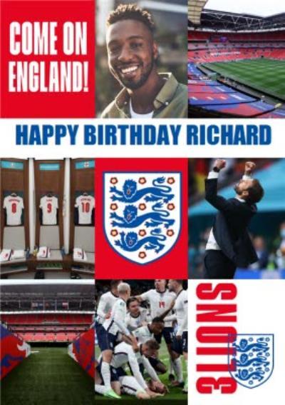 Danilo England Happy Birthday Come On England 3 Lions Photo Upload Card