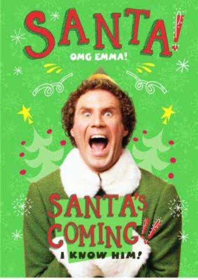 Elf Omg Santas Coming Personalised Christmas Card