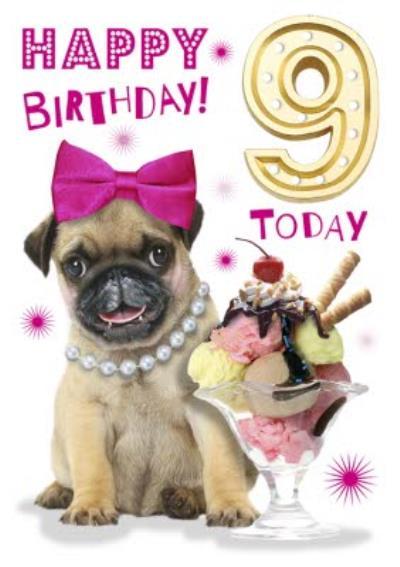 Cute Pug Puppy With Ice Cream Sundae 9th Birthday Card