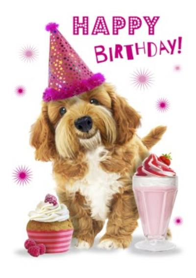 Cute Dog With Cupcake And Milkshake Birthday Card