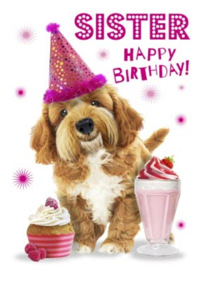Cute Dog With Cupcake Sister Birthday Card