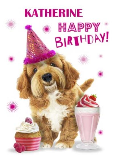 Cute Dog With Milkshake And Party Hat Personalised Card