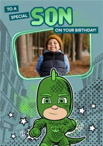 PJ Masks Gekko Photo Upload To A Special Son Birthday Card