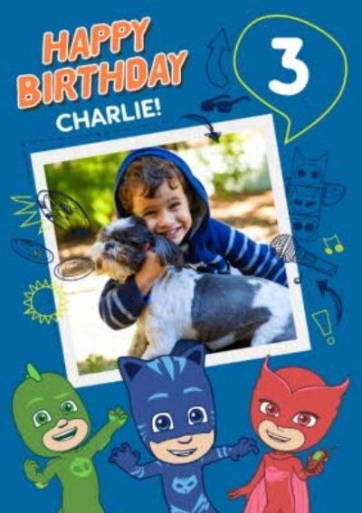 PJ Masks 3 Today Photo Upload Birthday Card