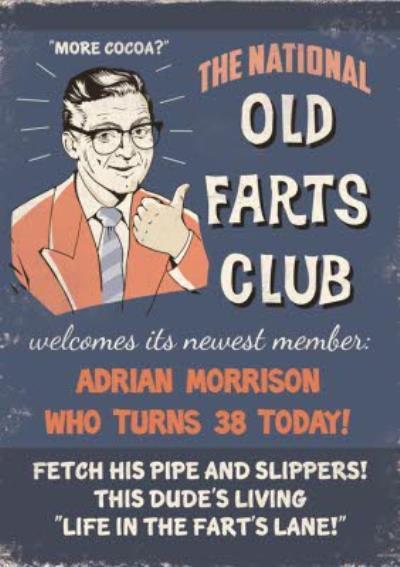 Retro Old Farts Club Personalised Birthday Card