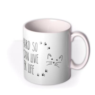 Work Hard Cat Personalised Mug