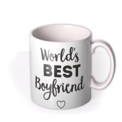 Worlds Best Boyfriend Valentines Day Typographic Mug