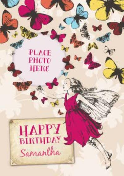 Butterflies And Fairy Personalised Photo Upload Happy Birthday Card