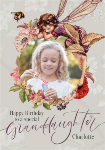 Flower Fairies Granddaughter Photo Upload Birthday Card